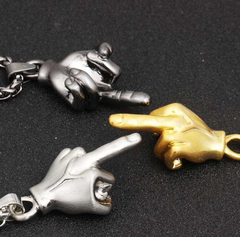 אופנה גברים אצבע תליון שרשראות תרבותי מחוות אצבע אמצעית תליון שרשראות מקורי סגנון צבע תליון מתנה