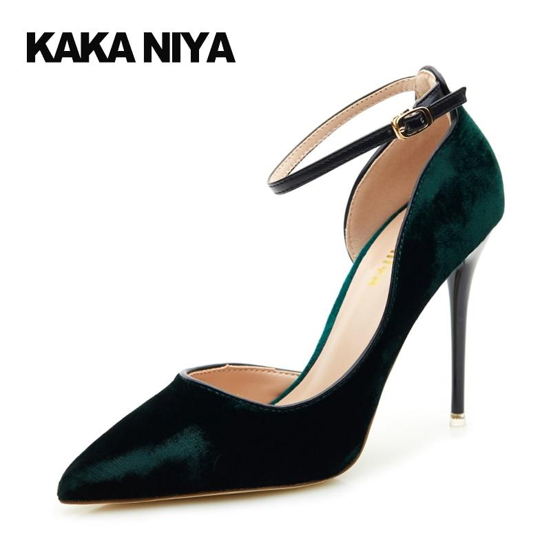 Shoes 2017 Super High Heel Ankle Strap Heels Pointed Toe Green Ladies 4 34 Small Size Velvet Retro Stiletto Folk Pumps Vintage