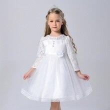 Nouvelle fille manches longues en dentelle de haute qualité princesse robe Fleur fille robe de demoiselle d'honneur robes tailles 3-12 enfants de vêtements