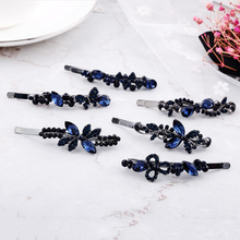 Retro Bow Blue Rhinestone Hair Accessories Clips for Women Charms Jewelry Butterfly Exquisite Girls Female