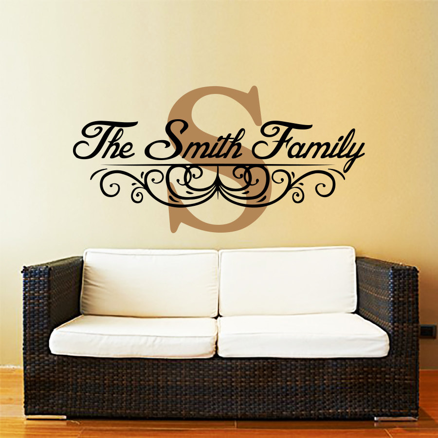 Personalized Family Monogram Decal Custom Family Name Wall Decal - Family monogram wall decals