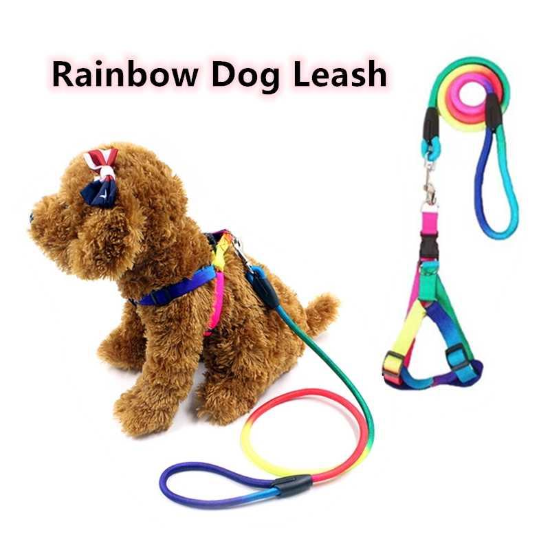 Радуга собаку поводок прочного нейлона поводок для прогулок и дрессировки 120 см кошки разгрузка для собак воротник поводки ремень поводок товары для домашних животных
