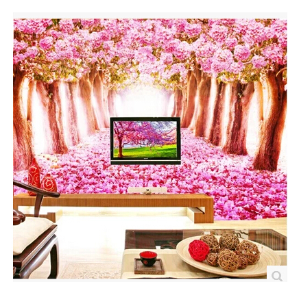 Custom Photo Wall Murals 3D Cherry Blossom Floral for Living Room ...