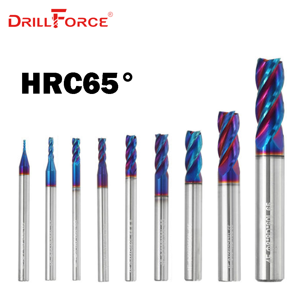 1PC 1mm-20mm HRC65 Solid Carbide 4 Flutes Flat End Mills Milling Cutter CNC Tools(1/1.5/2/2.5/3/4/5/6/8/9/10/12/14/16/18/20mm)