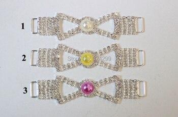 Envío Gratis, venta al por mayor, 40 unids/lote, Conector de 4 con diamantes de imitación para vestir en la natación, Conector de Bikini, Conector de diadema RC123001