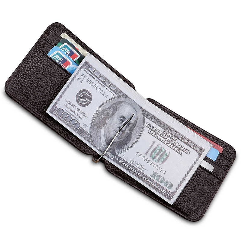 Men Leather Slim Money Clips Women Solid Metal ID Credit Card Wallet Male Money Holder Clip Purse Female Clamp for Monies Case