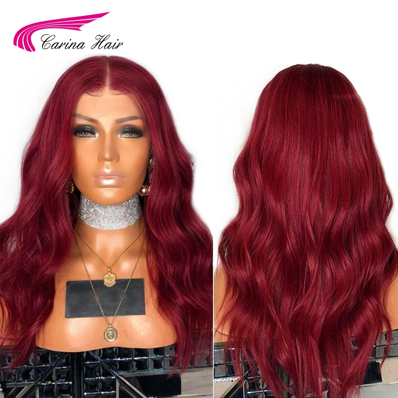 Карина 13x6 глубокая часть синтетические волосы на кружеве натуральные волосы Искусственные парики с ребенком волос 99j цвет бразильский воло...