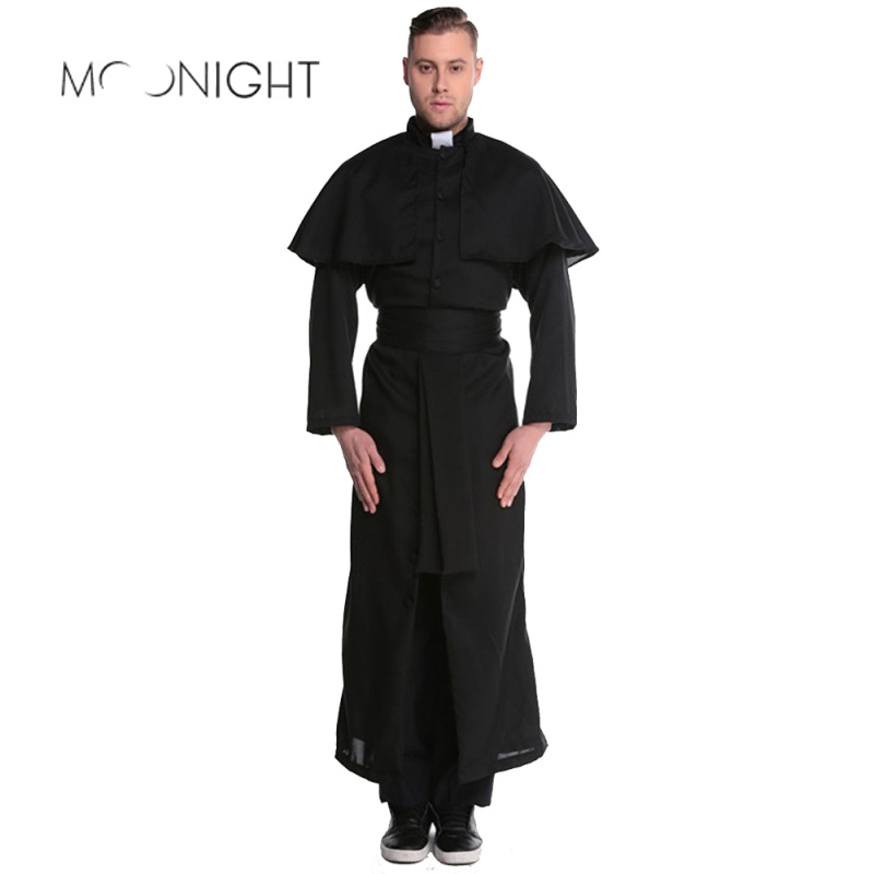 MOONIGHT Halloween Costumes Adult Men Costume European Religious Men Priest Uniform Fancy Dress Cosplay Costume for Men
