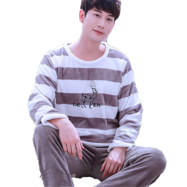 Men's Sleepwear Winter Thick Coral Fleece Pajamas Sets Sleep & Lounge Long Sleeve Male Nightgown Pyjama Homme Home Wear Men