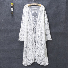 Long Cardigan Summer Kimono Cardigan Feminino Lace Cardigans Off White Shirt Mesh Embroidery Blouse 2018 Camisa Feminina Korean