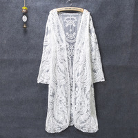 Long Cardigan Summer Kimono Cardigan Feminino Lace Cardigans Off White Shirt Mesh Embroidery Blouse 2018 Camisa Feminina Korean