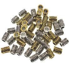 24pcs/Set Metal Viking Hair Runes Beads for Jewelry Making Charms Findings for Bracelets Pendant Necklace DIY for beard or hair(China)