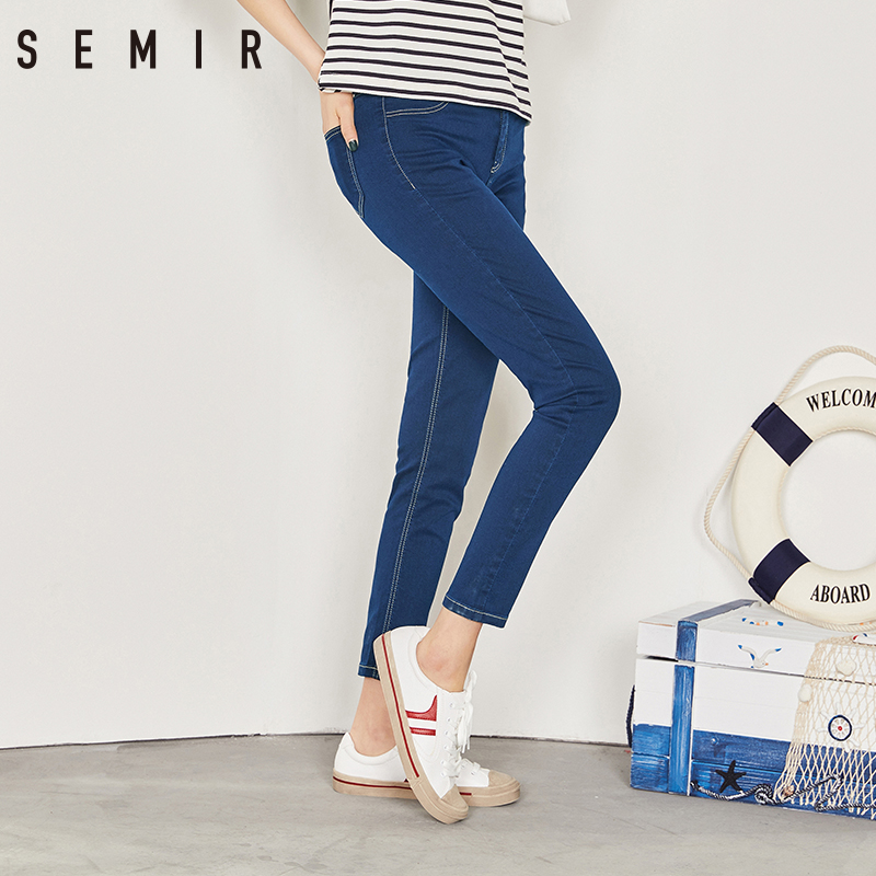 SEMIR New Jeans For Women 2018 Vintage Slim Style Pencil Jean High Quality Denim Pants For 4 Season Trousers Teenager Fashion(China)