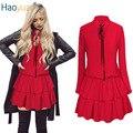 HAOYUAN Осень Женщины Симпатичные Kawaii Dress Длинным Рукавом отложным Воротником Мини Dress Бальное платье Черный Красный Bodycon Сексуальная Dress Vestido
