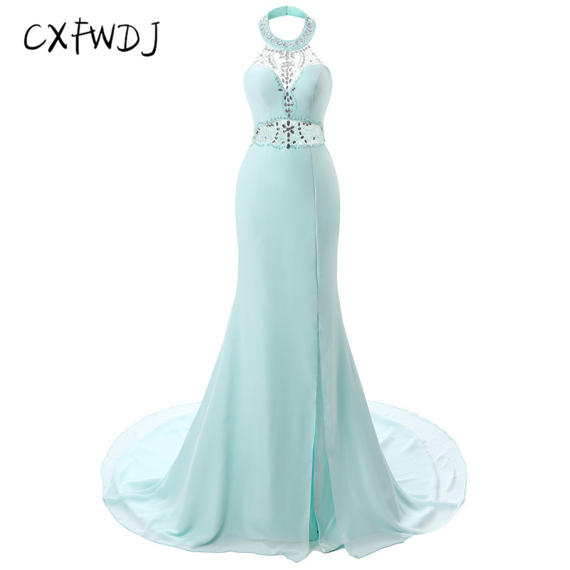 New Product Explosion Section Upscale Manual Chiffon crystal Hanging neck Tailing Dress Prom Long Women's Evening Wear Dresses
