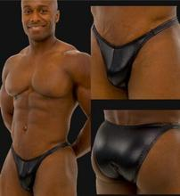 Free shipping BOYTHOR Men #8217 s underwear Bodybuilding contest pants Sexy leather Theprivate ordering Gym briefs cheap PG-014 Solid Synthetic Leather