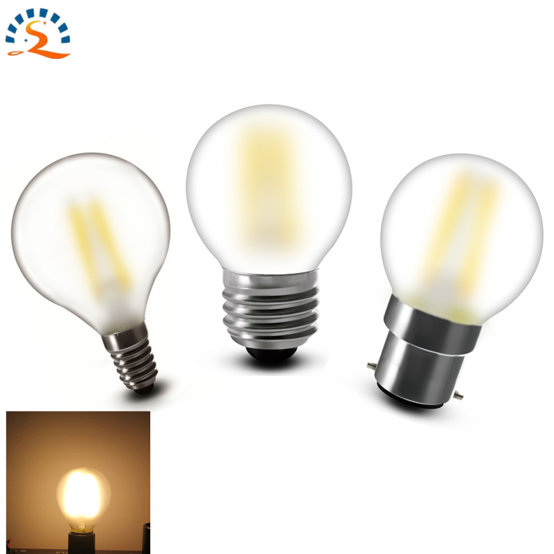 Shenmeile G45 E12 E14 E26 E27 B22 Frosted LED Filament Bulb Lamp Light 2w 4w Dimmable Warm White 120V 220v 230v 240v CE RoHs