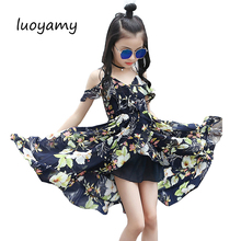 Фотография Girls Children Summer Sleeveless Chiffon Asymmetrcal Prom Clothes Infant Kid Princess Baby V-neck Next Party Beach Floral Dresse