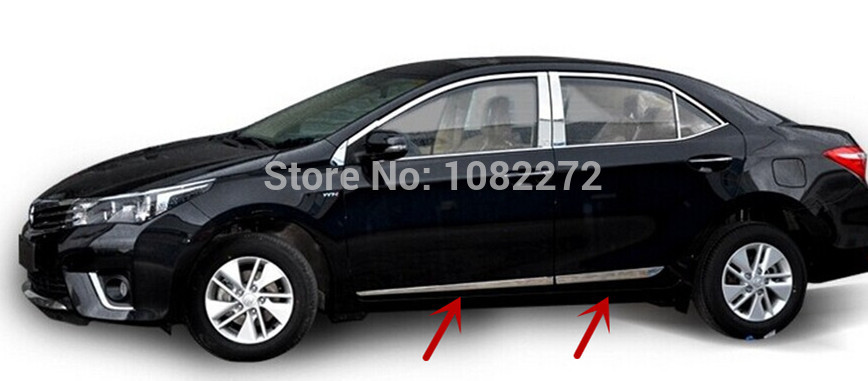 Stainless Steel Side Door Body Molding Cover Trim For Toyota 11th Corolla E170 2013 2014 for kia carens 2013 stainless steel window middle center pillar trim side door body molding streamer cover strip auto model