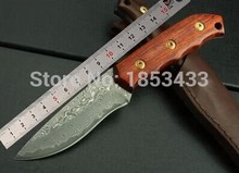 SK023 damascus steel knife blade hunting knife  wood handle handmade damascus forged steel knife EDC knife