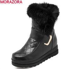 MORAZORAผู้หญิงหิมะรองเท้าหนังPUคุณภาพสูงความสูงอุ่นฤดูหนาวข้อเท้ารองเท้าแพลตฟอร์มรองเท้าหวาน