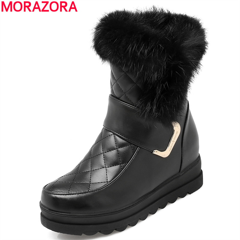 MORAZORA Women snow boots leather winter ankle boots shoes