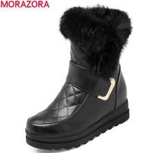 MORAZORA damskie śniegowce wysokiej jakości PU miękka skóra wysokość zwiększenie utrzymać ciepłe zimowe botki platforma urocze buty
