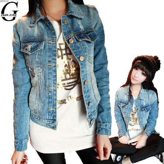 f862202a Chaqueta de Jeans para mujer talla grande S-4XL Otoño Invierno nueva ropa  de abrigo