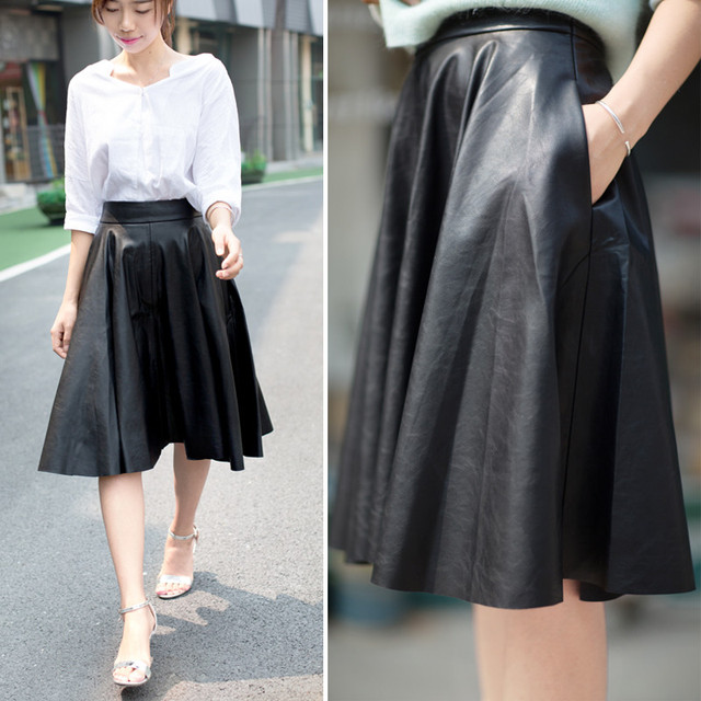 02f86b9cd420d WBCTW 2018 Solid England Style High Waist Faux Leather Knee Length Midi  Pleated Black Large Size Vintage Women Skirt with Pocket