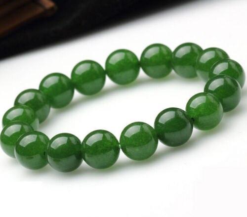 Vente 8mm Véritable Naturel Vert Jades Ronde Gem pierre Perles Bracelet Extensible 7.5 ''>>> argent pour les femmes