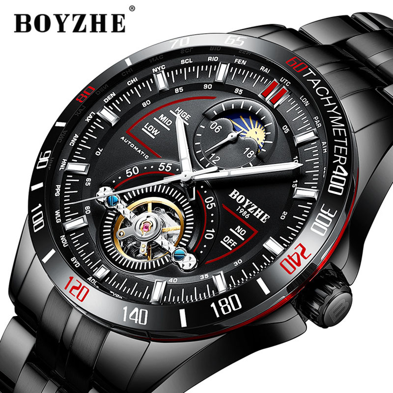 BOYZHE Automatic Mechanical Watch Men Fashion Top Brand Sport Watch Tourbillon Moon Phase Stainless Steel Watch Relogio Masculin