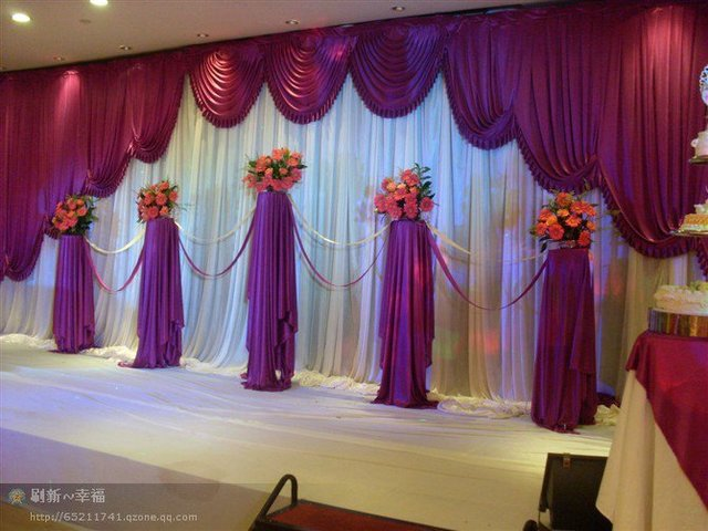 2015 New Designed Wedding Backdrops With Luxurious Grape Swag For