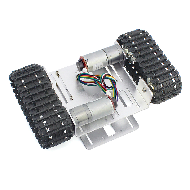 Mini DIY Crawler Robot Chassis Aluminium Alloy Tank Car Chassis Bottom Intelligent Toy 83mm rubber wheels tire intelligent tracking car chassis diy robot toy car accessories
