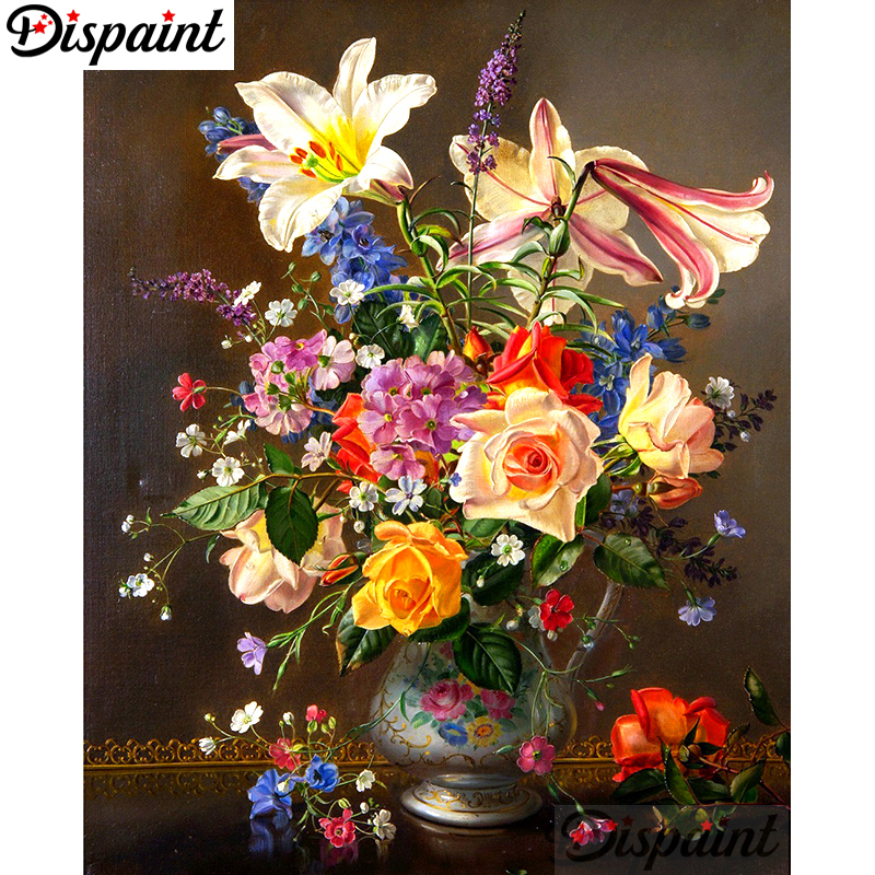 """Dispaint Full Square/Round Drill 5D DIY Diamond Painting """"Colored flower"""" Embroidery Cross Stitch 5D Home Decor A10077"""