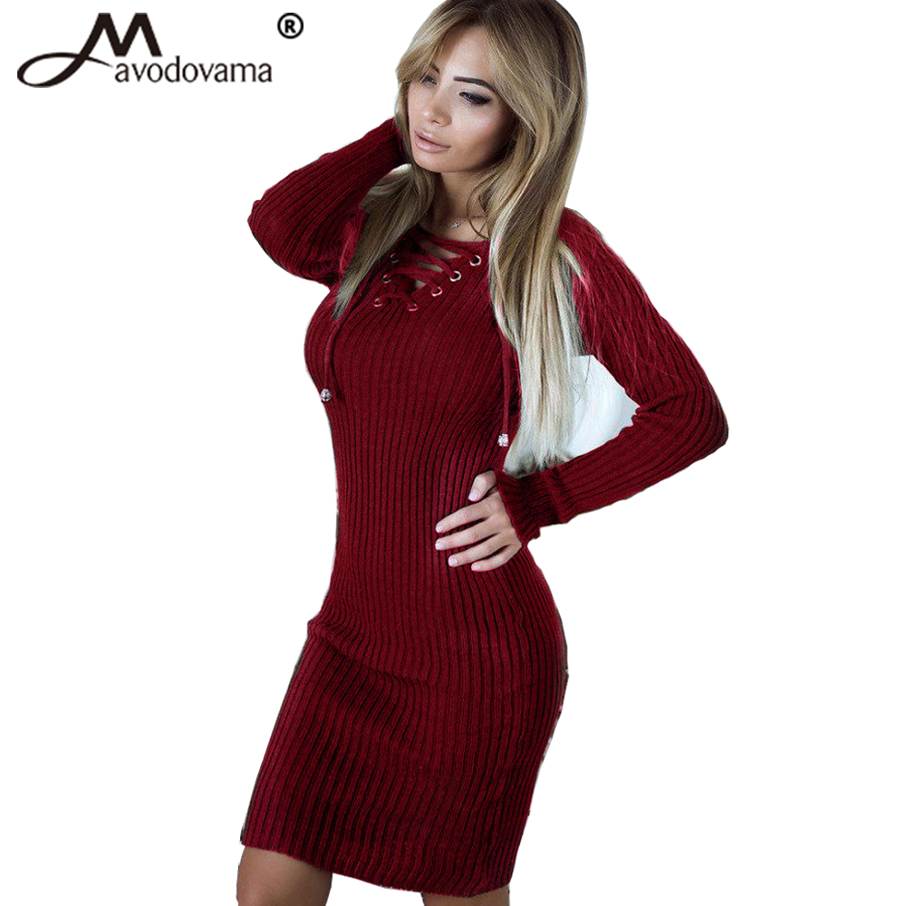 Avodovama M Elegant Slim Sexy V Neck Fashion Bodycon Party Club Dress Women Long Sleeve Knitted Knee-length Dresses elegant m