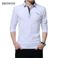 BROWON Hot Sale T Shirt Men Long T Shirt Turn Down Stripe Designer T Shirt Slim
