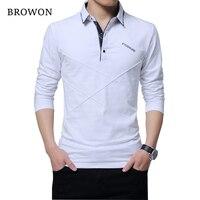 BROWON Gorąca Sprzedaż T Shirt Mężczyźni Długa Koszulka ścielenia Paskiem Projektant T-shirt Slim Fit Loose Casual Bawełniane T Koszula Mężczyzna Plus Size