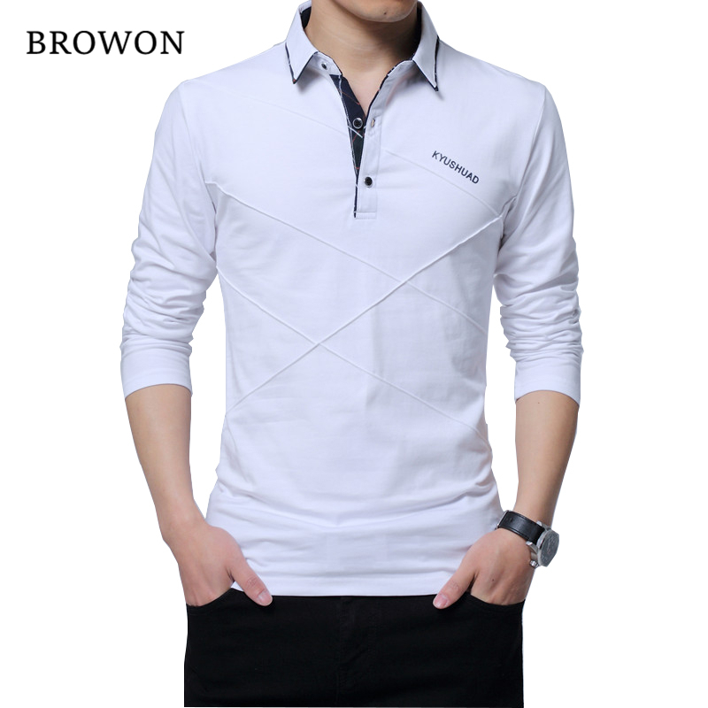BROWON Hot Sale T Shirt Men Long T-shirt Turn-down Stripe Designer T-shirt Slim Fit Loose Casual Cotton T Shirt Male Plus Size