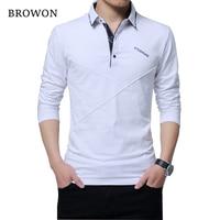 BROWON Hot Sale T Shirt Men Long T Shirt Turn Down Stripe Designer T Shirt Slim