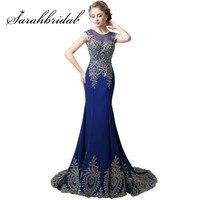 Hot Sale Long Wall Chiffon Tank Mermaid Evening Dresses 2015 Robe De Soiree Gold Lace Ribbon