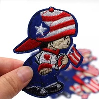 2017 New Cartoon Flag Boy Patches Sew Iron on Appliqued Embroidery badge Hot Melt Adhesive Patch for Children Clothes 10Pcs/lot
