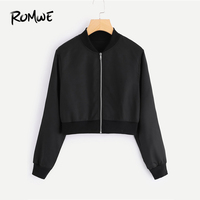 ROMWE Black Solid Zip Up Front Bomber Jacket  Autumn Women Casual Stand Collar Clothing New Design Ladies Plain Crop Coat|Jackets| |  -