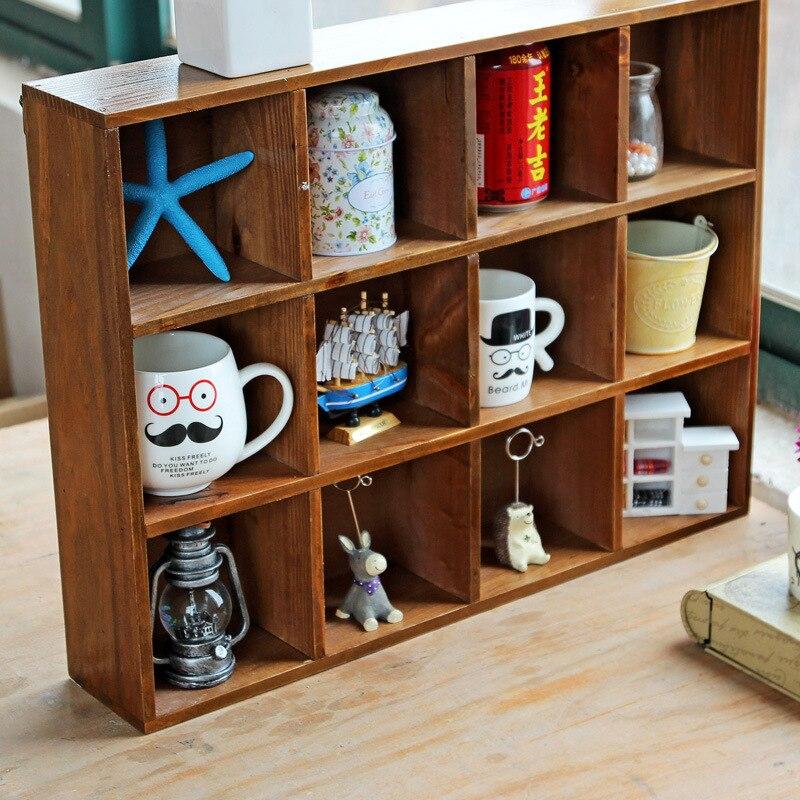 1 Pza Retro Multi capa De Madera Muebles de almacenamiento caja de almacenamiento gabinete de pared de almacenamiento caja de exhibición para el hogar Hecor - 4