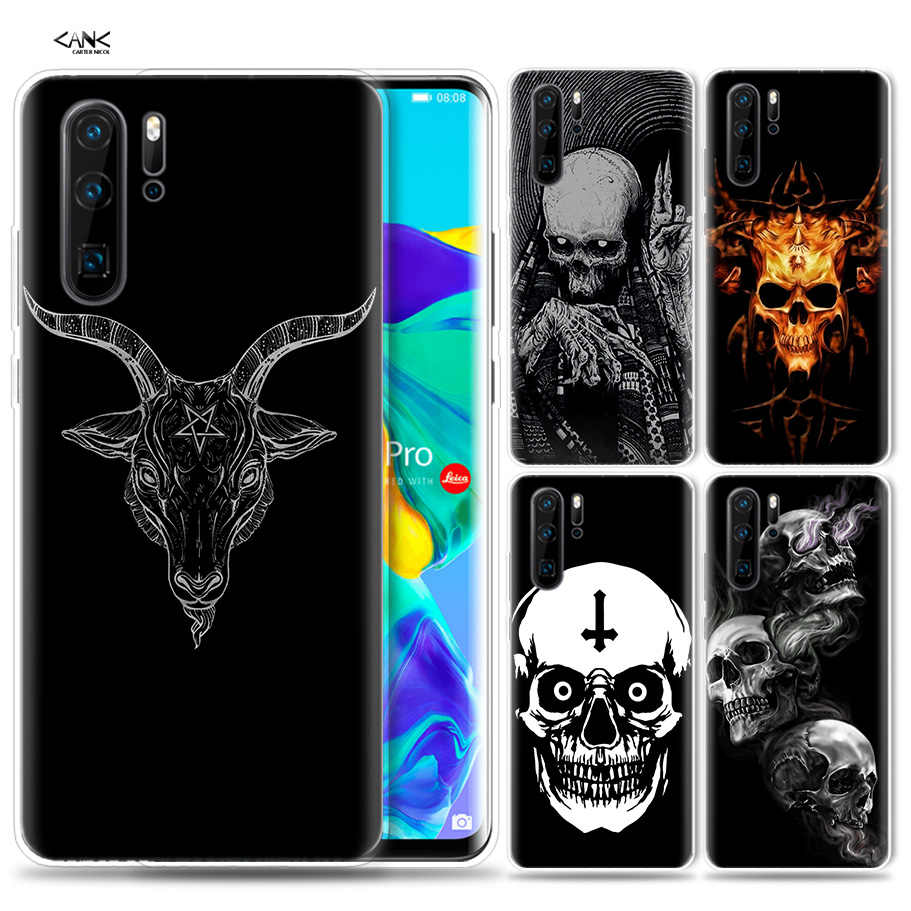 Case for Huawei P30 P20 P10 P9 Mate 10 20 Lite Pro Mobile Cell Phone Bag P Smart Z 2019 Plus Satanic Skull P8 P30Pro P20lite P10