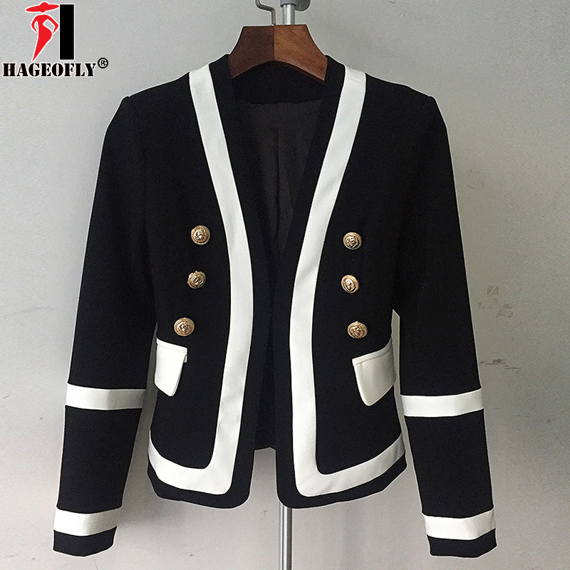 HIGH QUALITY New Fashion Designer Blazer Jacket Women s Classic Black White Color Gold Metal Buttons