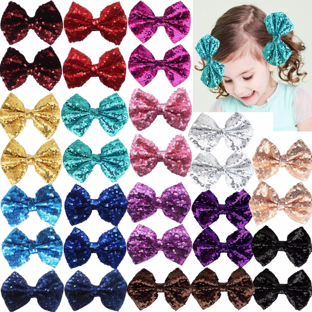 """Party Festival Girls Sparkling Bows Clips-30 Piece Glitter Sequins 4"""" Hair Bows Alligator Hair Clips For Kids Baby Child"""