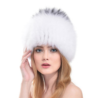 Women Fox Fur Hats Knitted Beanies 2016 New Russian Style Luxury Fox Fur Female Winter Warm Ear Cap Moshino LH310