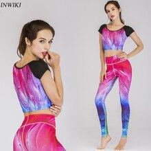 New Yoga Set Bodysuit Suit unique Gradient color fashion Short Sleeve Clothing Sportswear Gym Fitness Outfit jogging run Clothes gradient color short sleeve mens sports suit