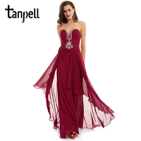 Tanpell Long Strapless Evening Dresses Burgundy Sleeveless Appliques A Line Gown Cheap Women Lace Up Beaded