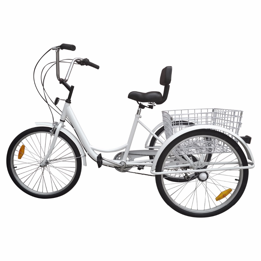 (Nave da usa-Germania) 24 pollici Triciclo Trike 3 Ruote Della Bici 6 Speed Shift + Carrello Adulti(Nave da usa-Germania) 24 pollici Triciclo Trike 3 Ruote Della Bici 6 Speed Shift + Carrello Adulti